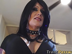 Black-haired mature  with  orbs stroking it rigid
