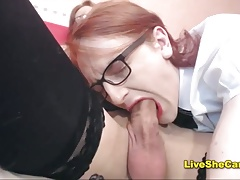 2 stellar crossdressers blow-job fetish