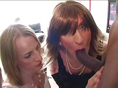 2 Crossdressers take on a Big black cock