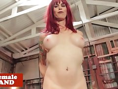 Machine pounded redhead tgirl wanking trunk