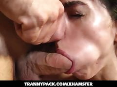 ladyboy Emanuelle Adams gets greased up 'n pounded by