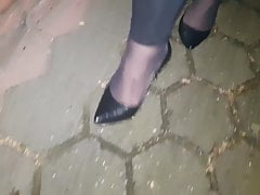 Outside walk in High High-heeled shoes