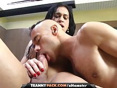 brunette shemale gets greased up 'n banged by a guy