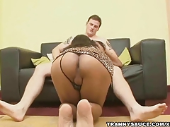 Busty brown-haired transgender princess fellates knob and gets boinked