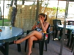 T-girl with enormous nut gets penetrated outdoors