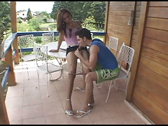 Mini-skirt tgirl creams on her dude's
