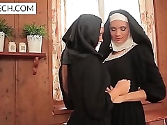 Lovely homoerotic nuns girls are kissing with an increment of heated - XCZECH.com