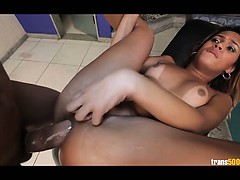 Latina Shemale has Her Bootie  and Humped By Massive Man-meat