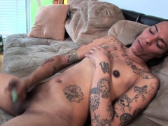 Inked ts debutante tugging cock at one's disposal casting