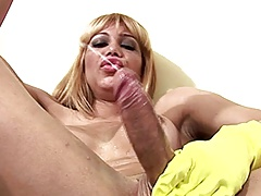 Yellow rubber gloves make this large shecock firm and drizzle