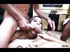 Top notch ladyboy Bianca Hills in kinky gang-bang