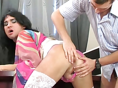 Office bang-out with cute crossdresser