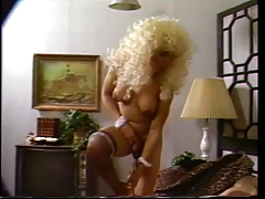 Tall t-girl in blonde  bj's cock while getting drilled in three way