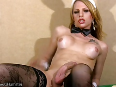 Insane t-girl unwraps off milky  and thumbs sphincter