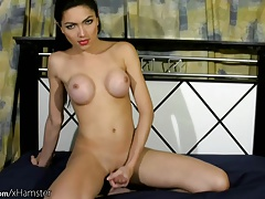 Japanese transgender princess with new bigtits paws her large donk