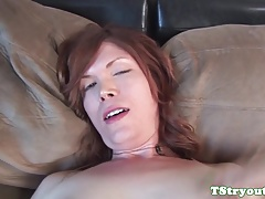 Solo  shemale milking at casting
