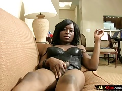 Cocoa skinned t-girl oral jobs milky man sausage in Point of view and cum-shots