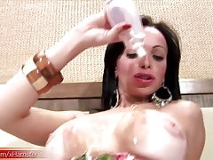 Molten Latina t-girl in tropical sundress  up her big breasts