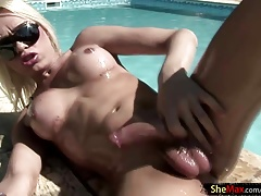 Lubed up platinum-blonde t-girl wrings her thick ballsack and ladystick