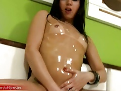 T-girl ladystick and jaw-dropping rump get glossy from lubricant and jizz flow