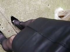 asian crossdresser leather microskirt