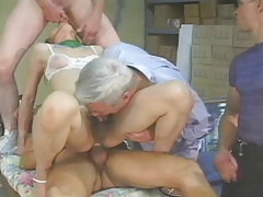 Asian T-girl receives 3 folks - old stud deep-throats all the Jizm