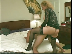 Big-boobed  ladyboy in splendid underwear deep-throats stiffy & pokes butt then gets butt drilled