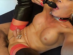 sissy fuckslut encaged dual assfuck swallow