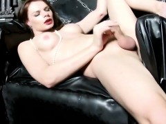 Busty russian tgirl wanking with respect to merely session