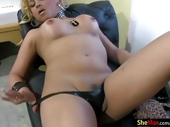Tranny with lengthy towheaded hair is undressing and tugging
