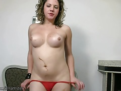 Beating tranny with curly hair strokes her phat shemeat