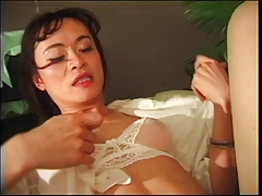 Super-cute japanese shemale with super-cute melons and high stilettos gets pulverized in her butt