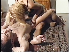 Brief haired shemale inhales on boys  and masturbates off another  in 3 way
